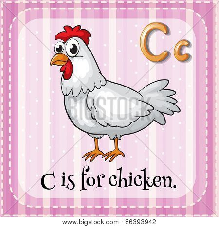 Flashcard letter C is for chicken
