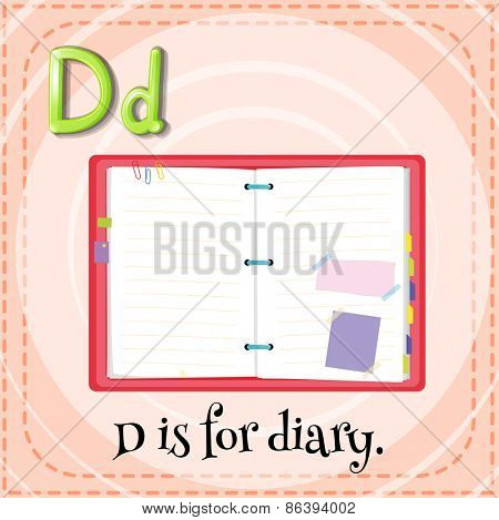 Flashcard letter D is for diary