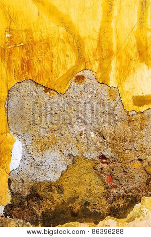 Vintage Old Damaged Wall With Cracks, Scratches, Painted With Yellow Paint. Textured Background For