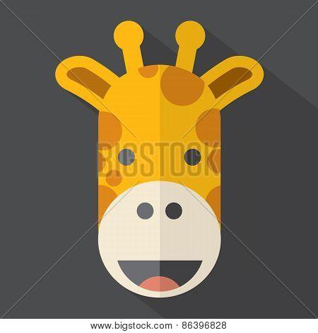 Modern Flat Design Giraffe Icon.