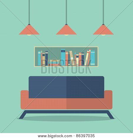Modern Design Interior Sofa And Bookshelves.