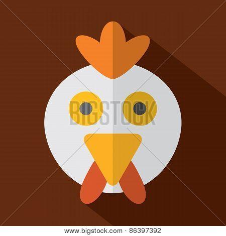 Modern Flat Design Chicken Icon.