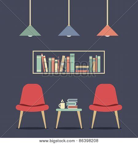Modern Design Interior Chair And Bookshelf.