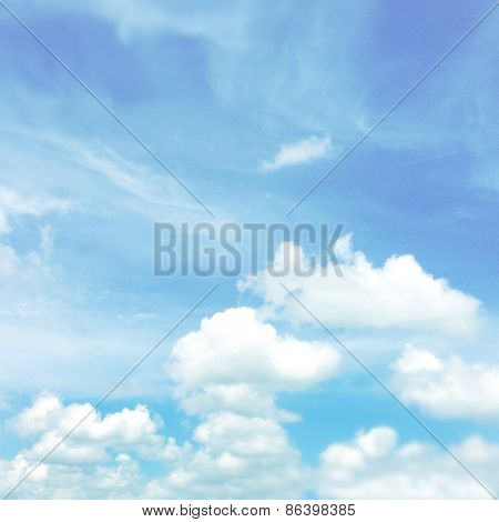 Cloud shapes in blue sky