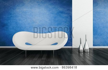 Modern blue living room interior with a contemporary white modular settee and metallic vases on a black hardwood floor with white accents and a blue wall.  3d Rendering