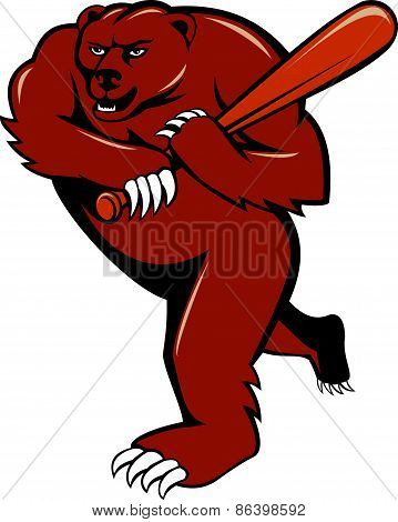 Grizzly Bear Baseball Player Batting Cartoon