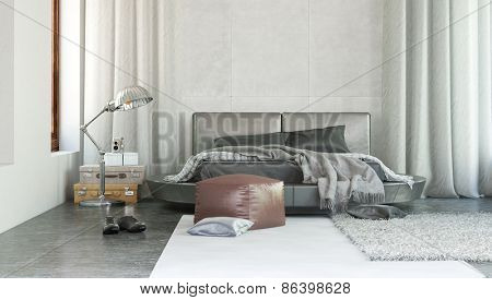 Stylish modern bedroom interior with grey decor and rugs thrown over a double bed with ottoman and long drapes on either side.  3d Rendering