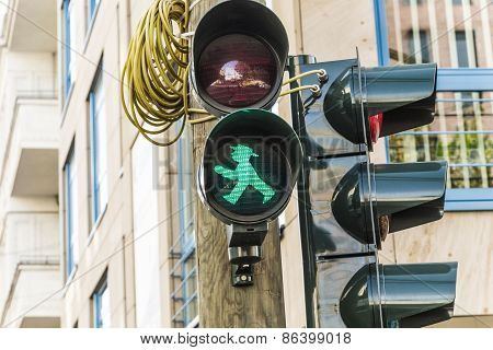 Ampelmann Is The Famous Symbol Shown On Pedestrian Signals In The Former German Democratic Republic