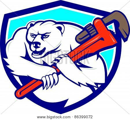 Polar Bear Plumber Monkey Wrench Shield Cartoon