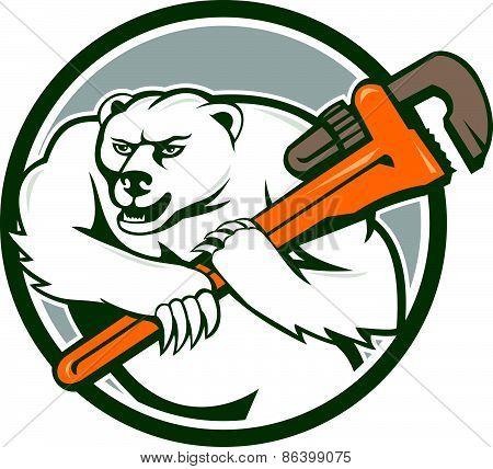 Polar Bear Plumber Monkey Wrench Circle