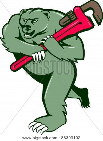 Grizzly Bear Plumber Monkey Wrench Cartoon