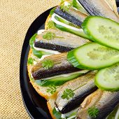 ������, ������: Sandwich With Sprats And Green Cucumber