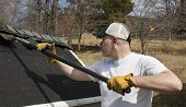 stock photo of shingles  - Man wearing work gloves taking shingles off a shed roof - JPG