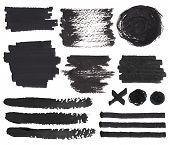 picture of color spot black white  - Vector set of isolated on white felt tip pen spots stroke and marks black paint and ink decorative elements - JPG