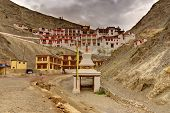 pic of jammu kashmir  - Rizong monastery with view of Himalayan mountians  - JPG
