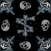 image of skull bones  - Roses frame, Skull and Bones cross n Old School Tattoo style elements design vector.