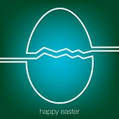 picture of tan lines  - Continuous line Easter egg card in vector format - JPG