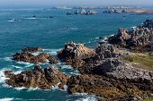 picture of deserted island  - Ushant island dangerous and rocky coastline in France - JPG