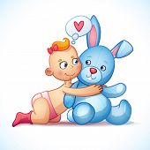 foto of baby easter  - Baby girl redhead hugs bunny toy on a white background - JPG
