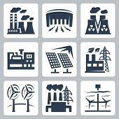 stock photo of hydro  - Power plants vector icons set - JPG
