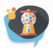 picture of gumball machine  - Gum Ball Machine Flat Icon With Long Shadow - JPG