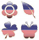 picture of patriot  - A set of four glossy spring shapes filled with a patriotic pattern - JPG