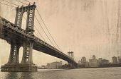 stock photo of brooklyn bridge  - a grungy image of Brooklyn Bridge - JPG