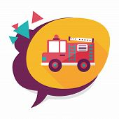 stock photo of fire truck  - Transportation Fire Truck Flat Icon With Long Shadow - JPG