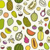 foto of pamelo  - Tropical fruits seamless pattern - JPG