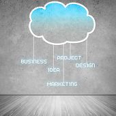 stock photo of wall cloud  - Colorful cloud with business icons on cement wall - JPG