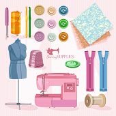 foto of sewing  - Supplies and accessories for sewing on colorful background - JPG