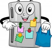 stock photo of refrigerator  - Mascot Illustration of a Refrigerator Filled with Sticky Notes - JPG