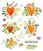 picture of greeting card design  - Floral Set with Watercolor Flowers for Summer or Spring Cards - JPG