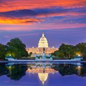 stock photo of capitol building  - Capitol building sunset congress of USA Washington DC US - JPG