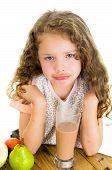 Постер, плакат: Cute little preschooler girl with chocolate milk mustache
