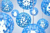 stock photo of chandelier  - Chandeliers of blue colour hang on a wire - JPG