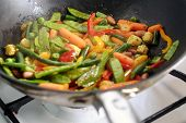 image of chinese wok  - Roasting mexican vegetables mix in wok pan - JPG