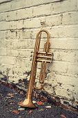 stock photo of trumpets  - Old worn trumpet stands alone against a grungy pealing white brick wall outside a jazz club - JPG