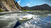 picture of off-shore  - Sinking boat off the shore - JPG