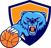 stock photo of growl  - Illustration of a grizzly bear head angry growling holding basketball viewed from front set inside shield crest on isolated background done in cartoon style - JPG