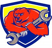 picture of grizzly bear  - Illustration of a grizzly bear plumber running holding spanner on shoulder set inside shield crest on isolated background done in cartoon style - JPG
