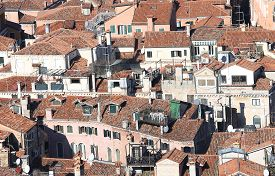picture of overpopulation  - cluster of houses seen from the top of the Mediterranean country - JPG