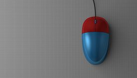 pic of fancy mouse  - Blue and red computer mouse on gray background top view with copy space - JPG