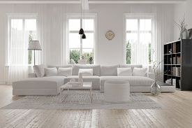image of modern building  - Modern spacious lounge or living room interior with monochromatic white furniture and decor below three tall bright windows with a dark bookcase accent in the corner - JPG