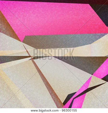 Retro geometric background with colorful triangles on textured paper