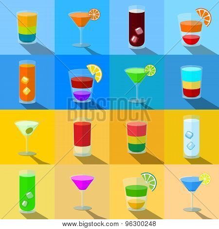 Set of beach themed cocktails in transparent glasses