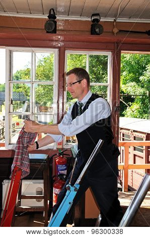 Signalman in Highley Signal Box.