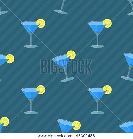 Seamless flat pattern with cocktail glasses