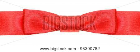 Symmetric Red Bow Knot On Wide Silk Ribbon