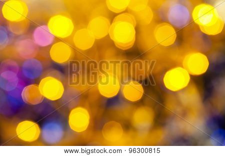 Yellow Blue Blurred Shimmering Christmas Lights